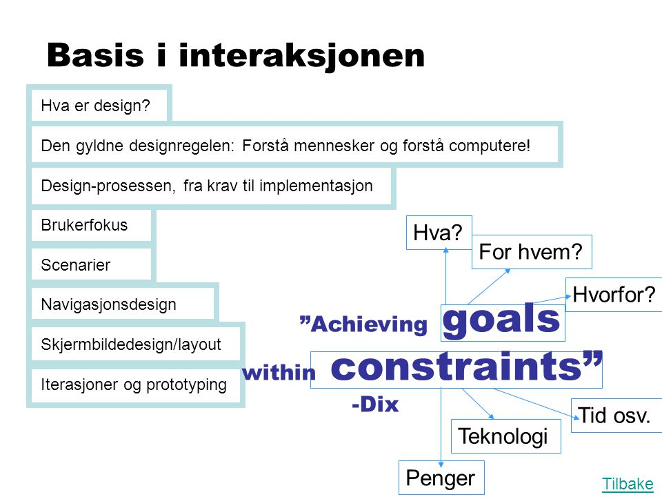 Achieving goals within constraints -Dix