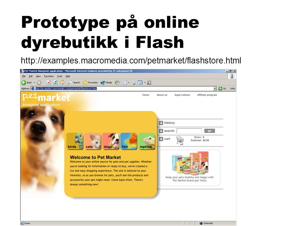Prototype på online dyrebutikk i Flash