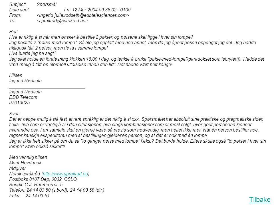 Tilbake Subject: Spørsmål Date sent: Fri, 12 Mar 2004 09:38:02 +0100