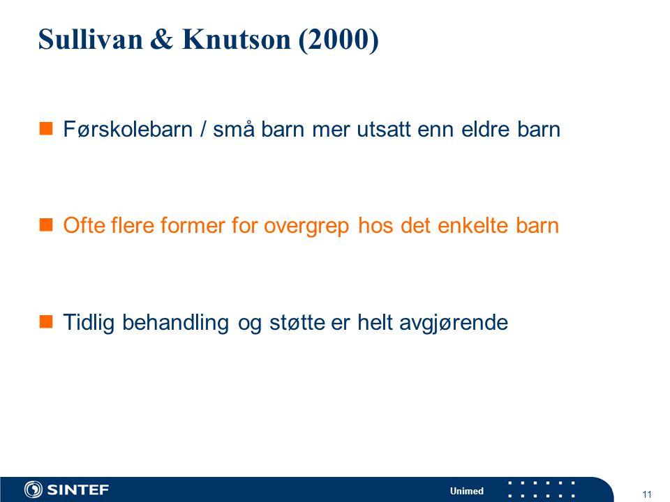 Sullivan & Knutson (2000) Førskolebarn / små barn mer utsatt enn eldre barn. Ofte flere former for overgrep hos det enkelte barn.