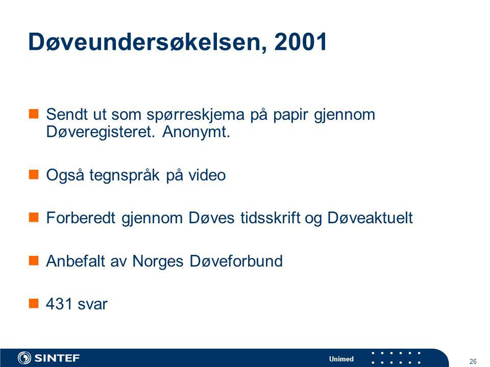 Døveundersøkelsen, 2001 Sendt ut som spørreskjema på papir gjennom Døveregisteret. Anonymt. Også tegnspråk på video.