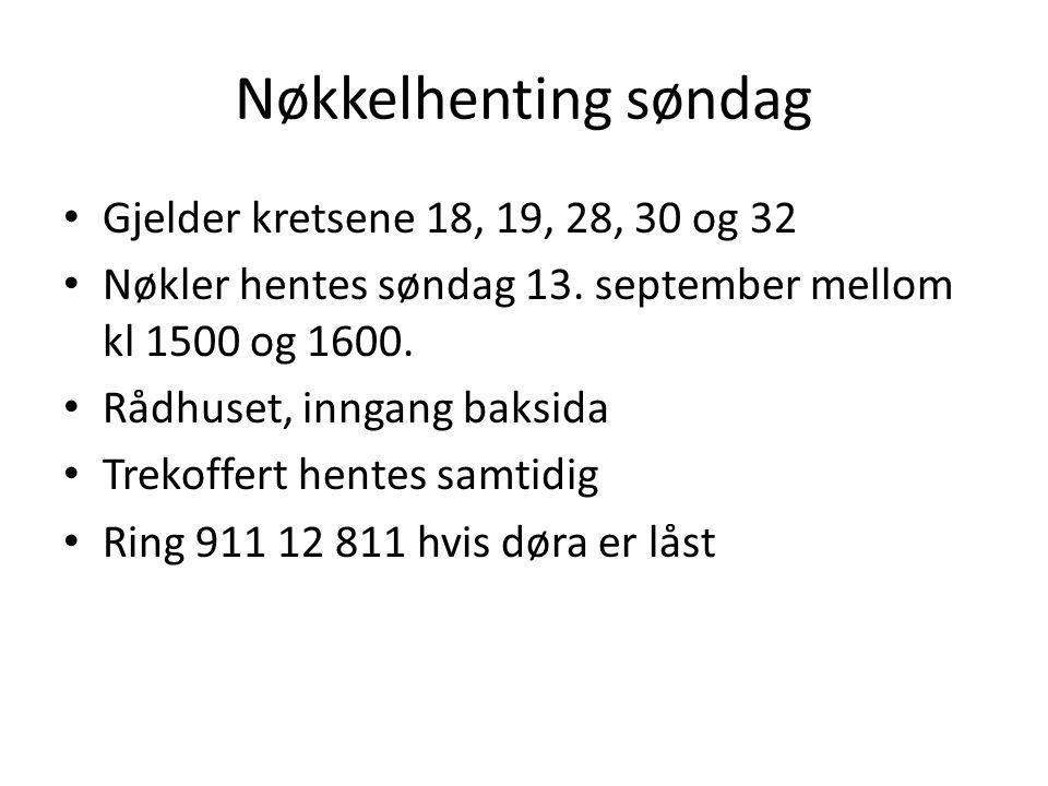 Nøkkelhenting søndag Gjelder kretsene 18, 19, 28, 30 og 32