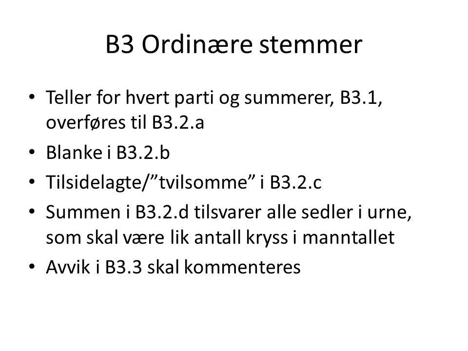 B3 Ordinære stemmer Teller for hvert parti og summerer, B3.1, overføres til B3.2.a. Blanke i B3.2.b.