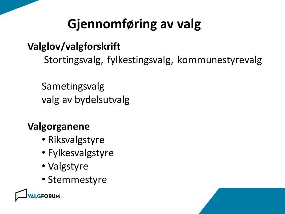 Gjennomføring av valg Valglov/valgforskrift