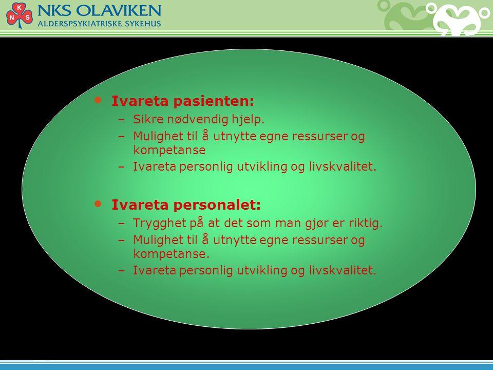Ivareta pasienten: Ivareta personalet: To delt Sikre nødvendig hjelp.