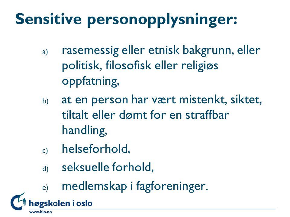 Sensitive personopplysninger: