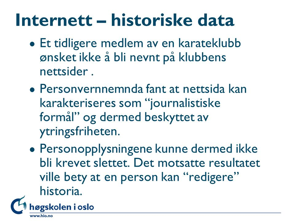 Internett – historiske data