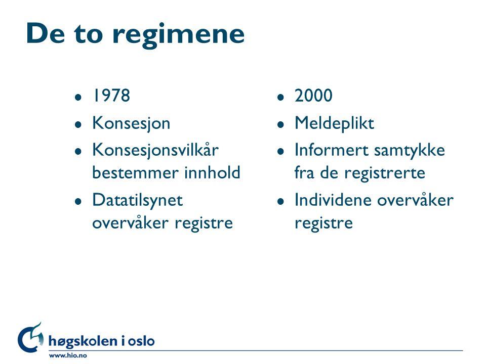 De to regimene 1978 Konsesjon Konsesjonsvilkår bestemmer innhold