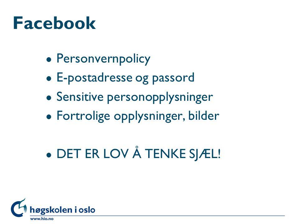 Facebook Personvernpolicy E-postadresse og passord