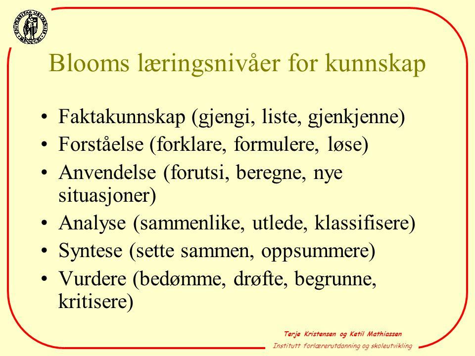 Blooms læringsnivåer for kunnskap