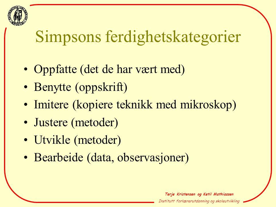 Simpsons ferdighetskategorier