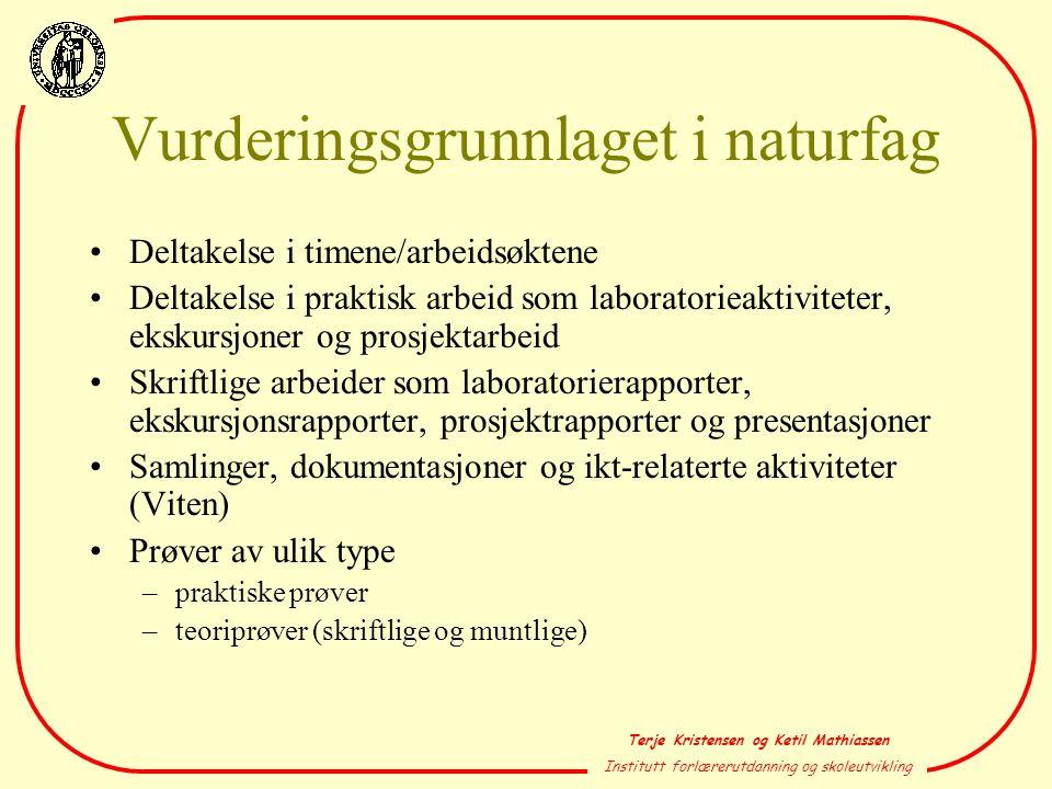 Vurderingsgrunnlaget i naturfag