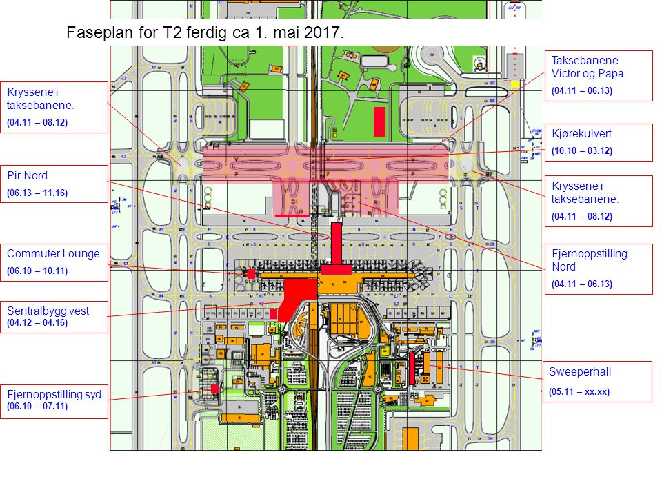 Faseplan for T2 ferdig ca 1. mai 2017.