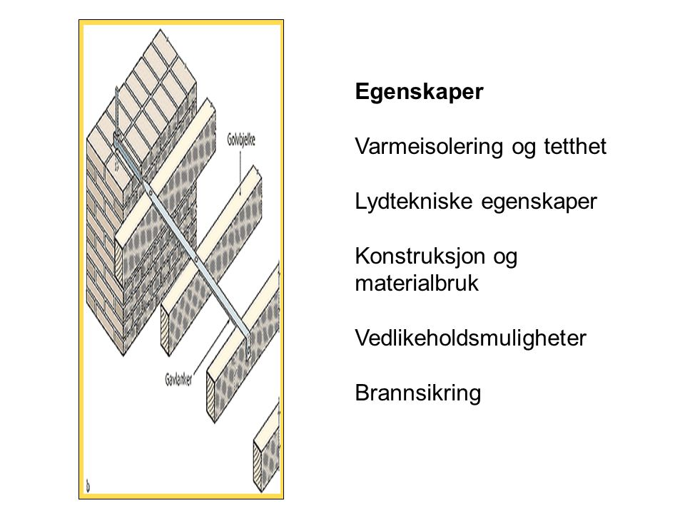 Egenskaper Varmeisolering og tetthet. Lydtekniske egenskaper. Konstruksjon og materialbruk. Vedlikeholdsmuligheter.