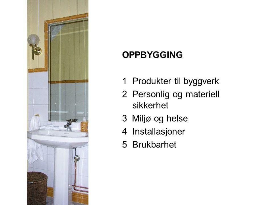 OPPBYGGING 1 Produkter til byggverk. 2 Personlig og materiell sikkerhet. 3 Miljø og helse. 4 Installasjoner.
