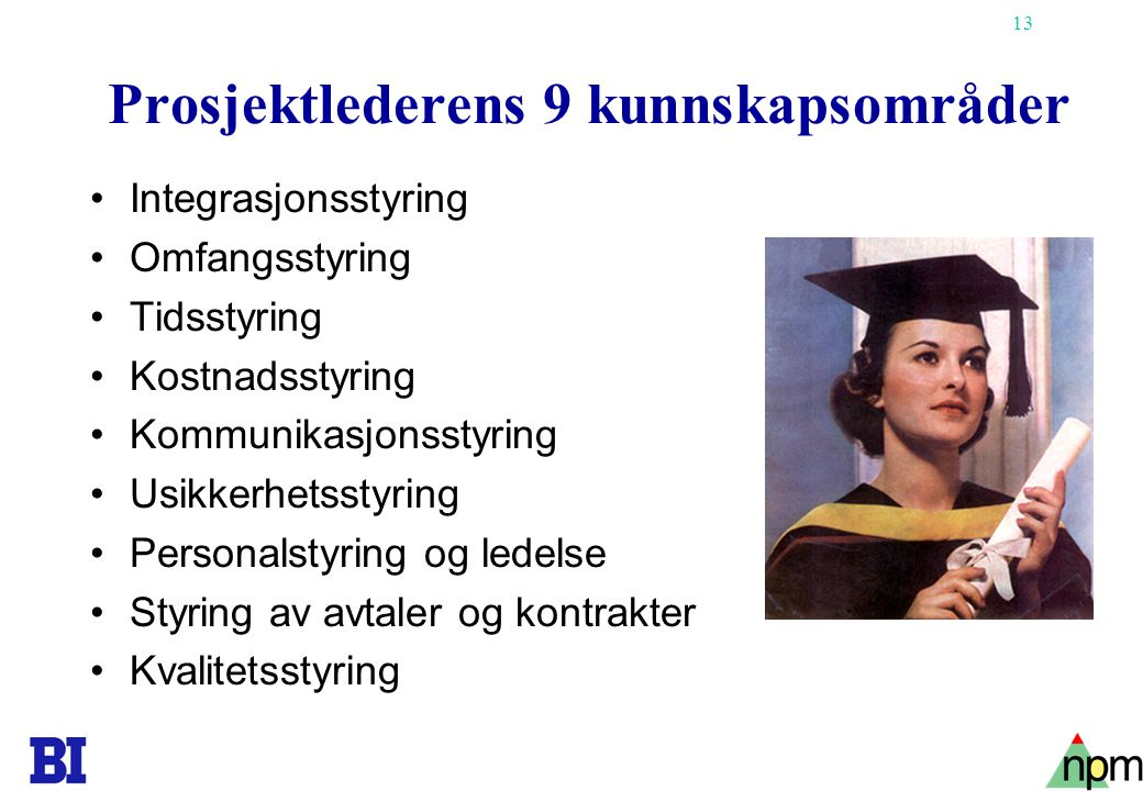 Prosjektlederens 9 kunnskapsområder
