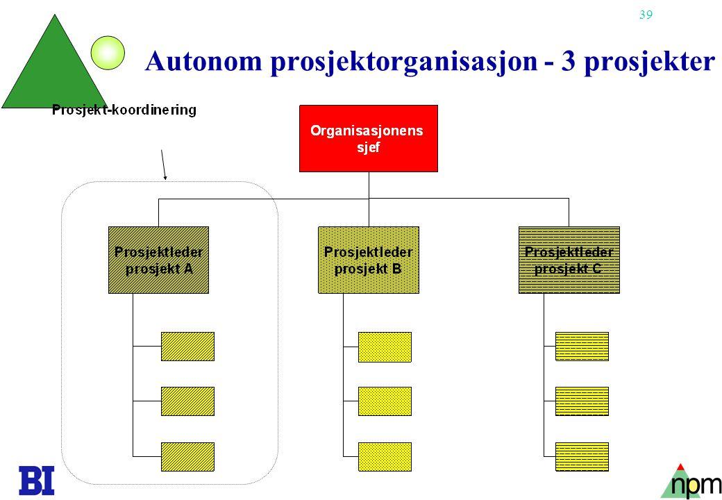 Autonom prosjektorganisasjon - 3 prosjekter