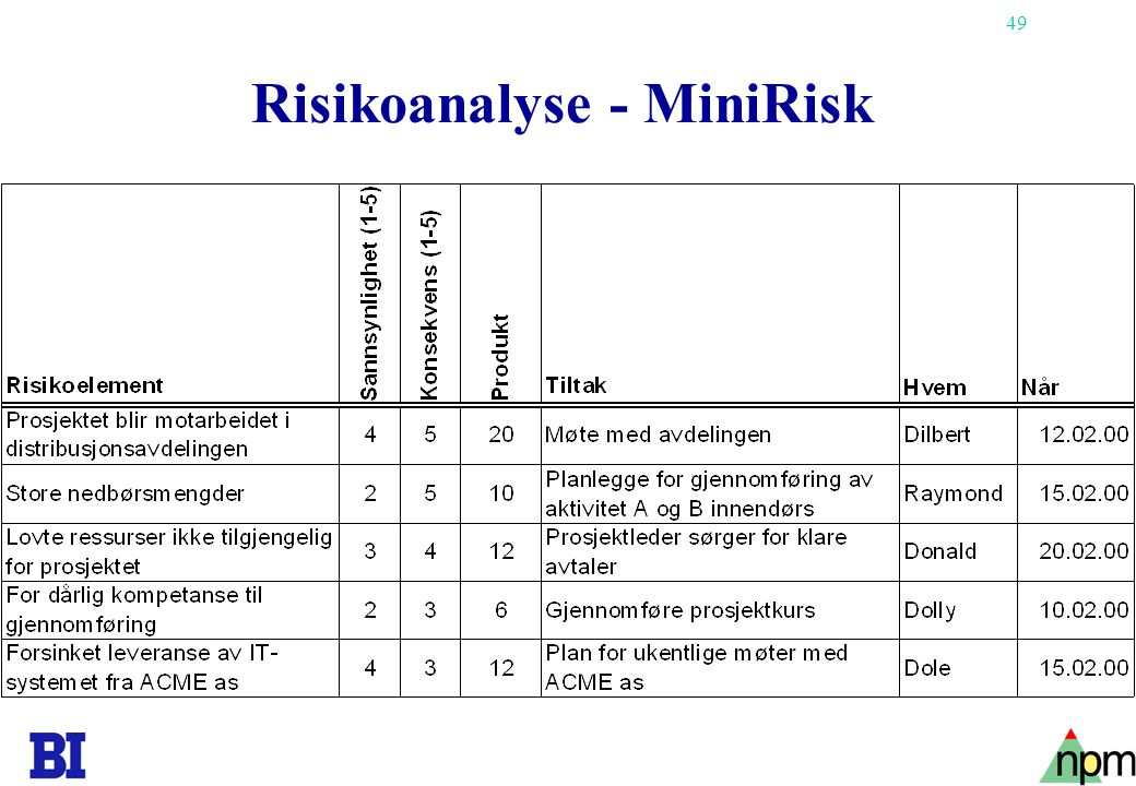 Risikoanalyse - MiniRisk