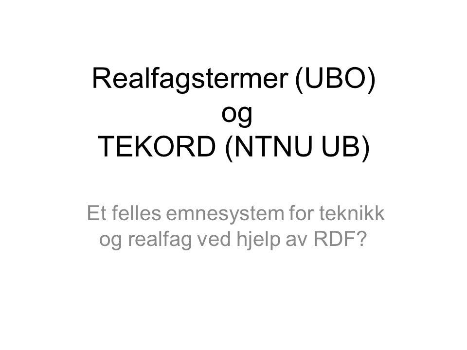 Realfagstermer (UBO) og TEKORD (NTNU UB)