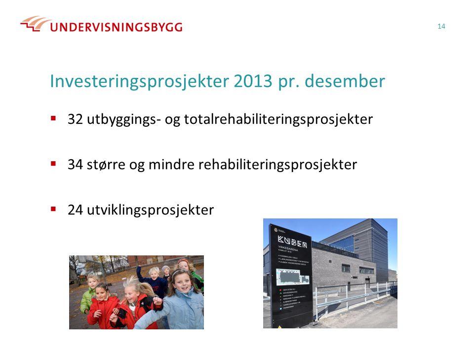 Investeringsprosjekter 2013 pr. desember