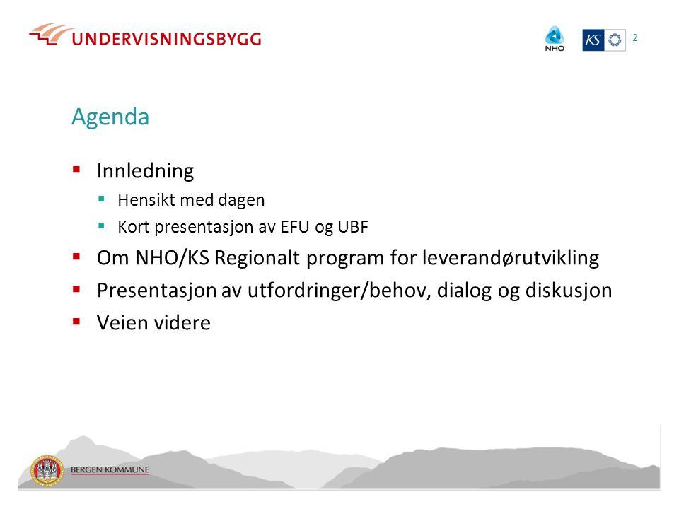 Agenda Innledning Om NHO/KS Regionalt program for leverandørutvikling