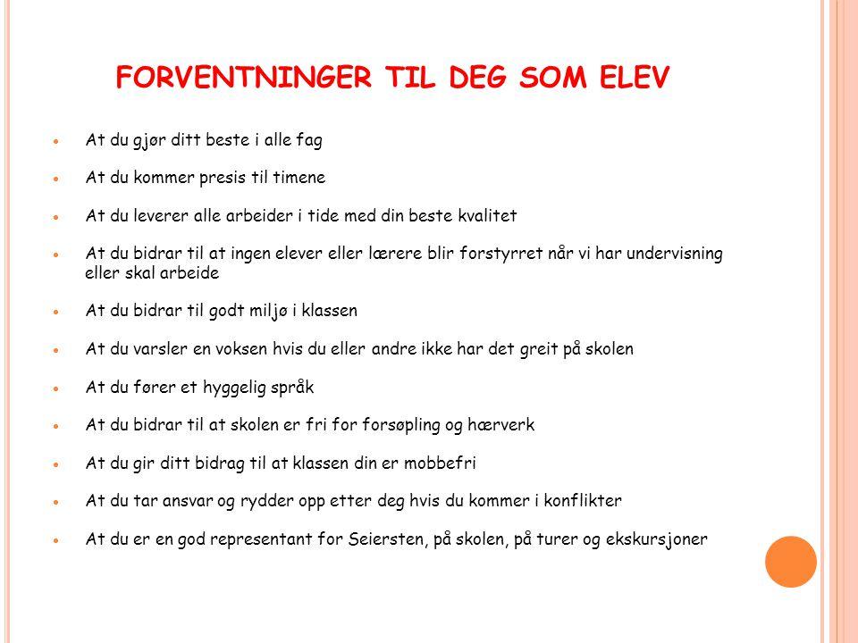 FORVENTNINGER TIL DEG SOM ELEV