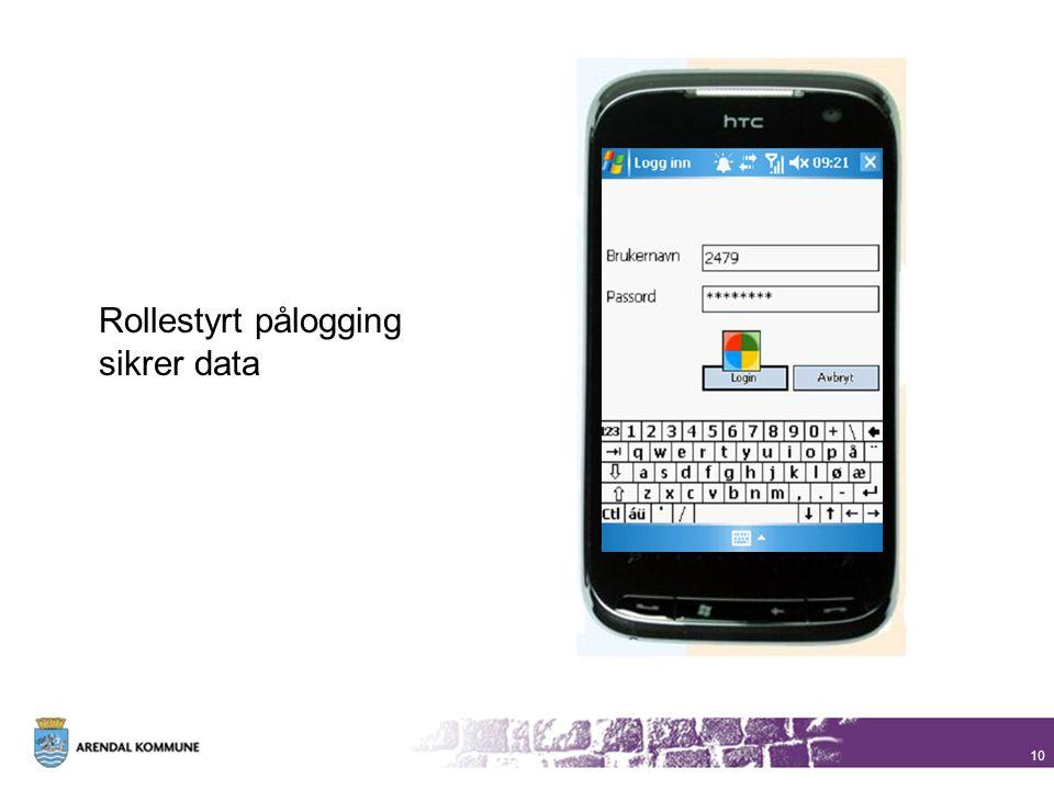 Rollestyrt pålogging sikrer data