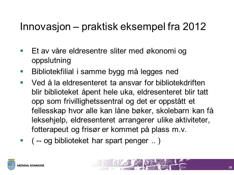 Innovasjon – praktisk eksempel fra 2012