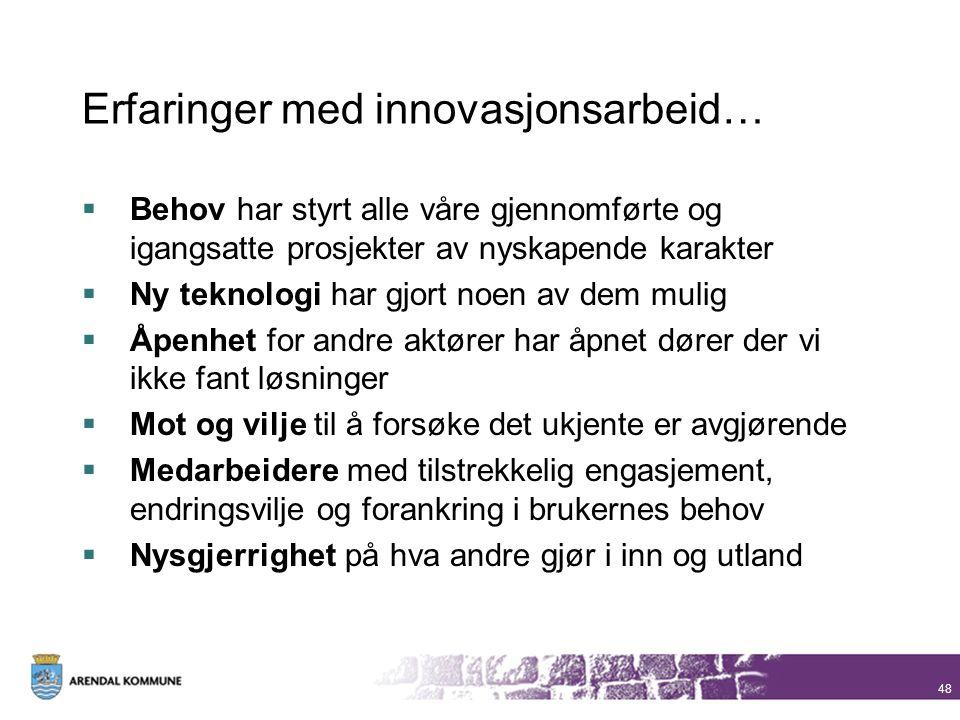 Erfaringer med innovasjonsarbeid…