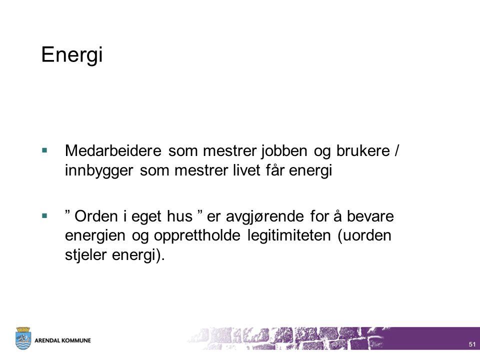 Energi Medarbeidere som mestrer jobben og brukere / innbygger som mestrer livet får energi.