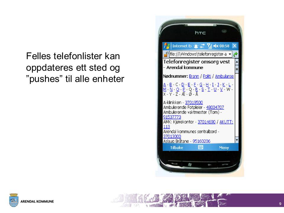 Felles telefonlister kan oppdateres ett sted og pushes til alle enheter