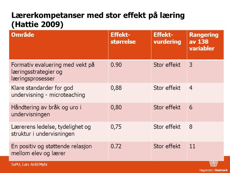 Lærerkompetanser med stor effekt på læring (Hattie 2009)