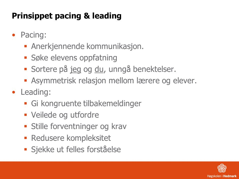 Prinsippet pacing & leading