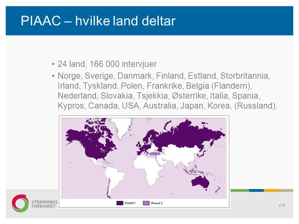PIAAC – hvilke land deltar
