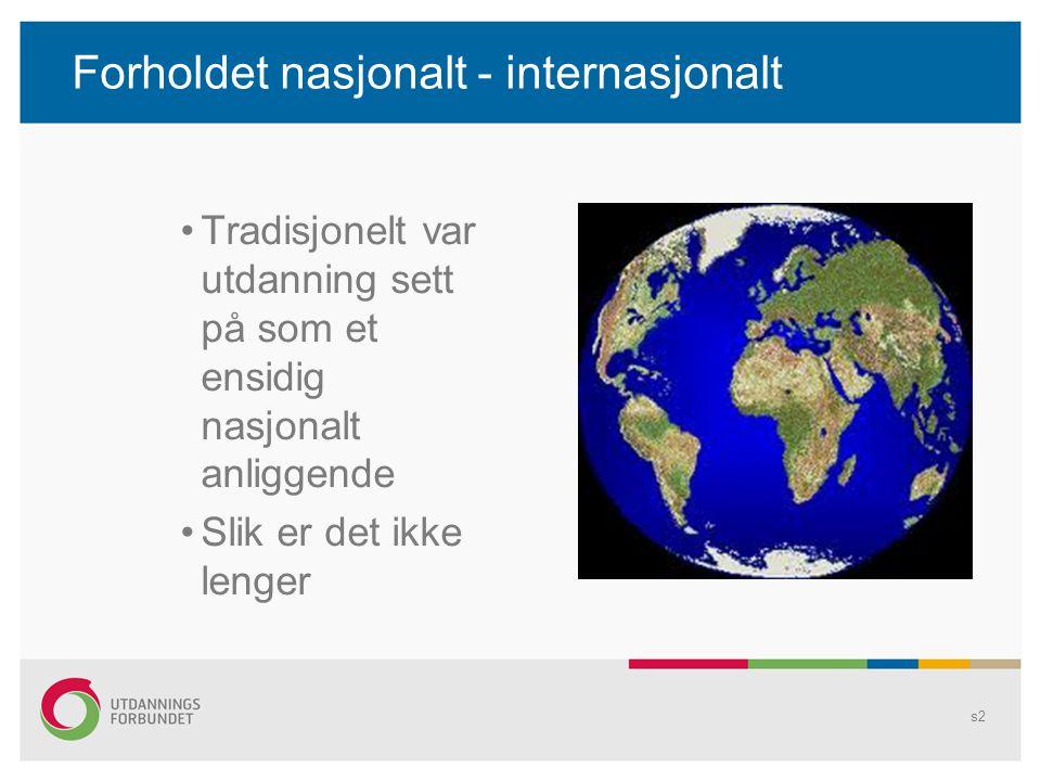 Forholdet nasjonalt - internasjonalt