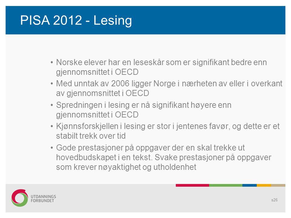 PISA 2012 - Lesing Norske elever har en leseskår som er signifikant bedre enn gjennomsnittet i OECD.