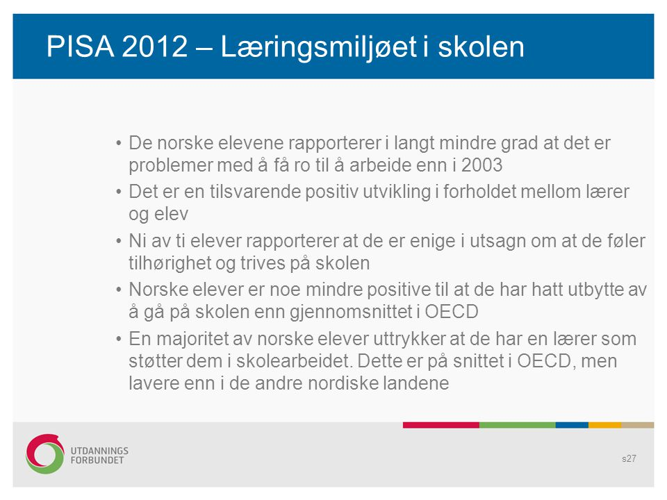 PISA 2012 – Læringsmiljøet i skolen