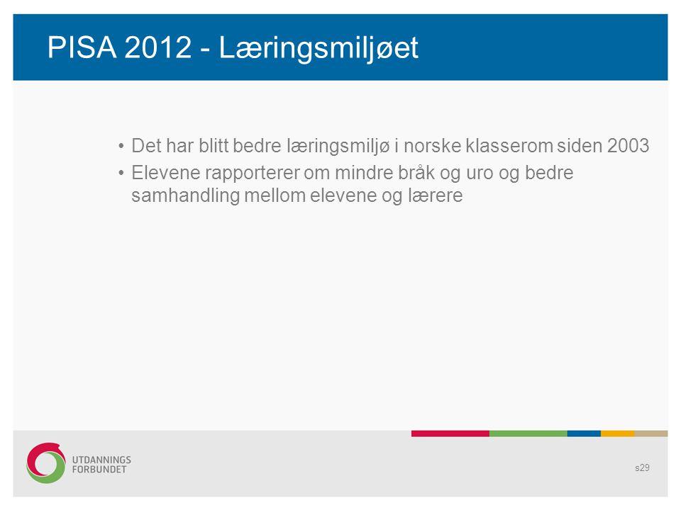 PISA 2012 - Læringsmiljøet Det har blitt bedre læringsmiljø i norske klasserom siden 2003.