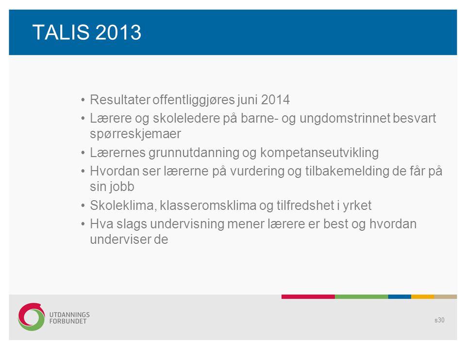 TALIS 2013 Resultater offentliggjøres juni 2014