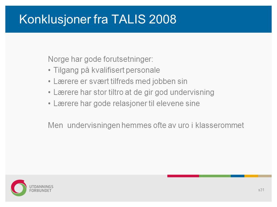 Konklusjoner fra TALIS 2008