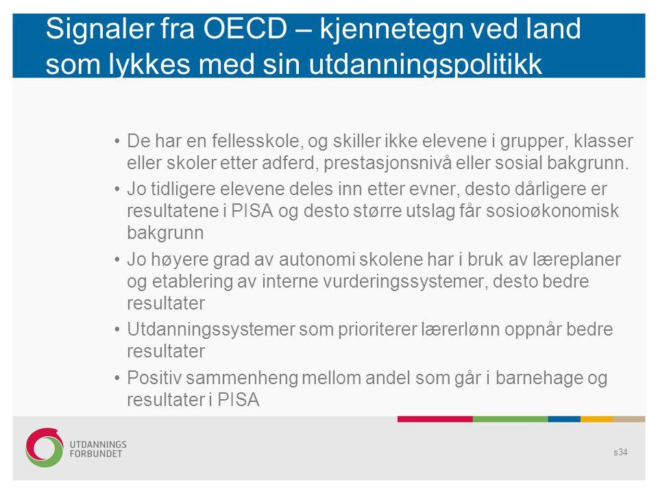 Signaler fra OECD – kjennetegn ved land som lykkes med sin utdanningspolitikk