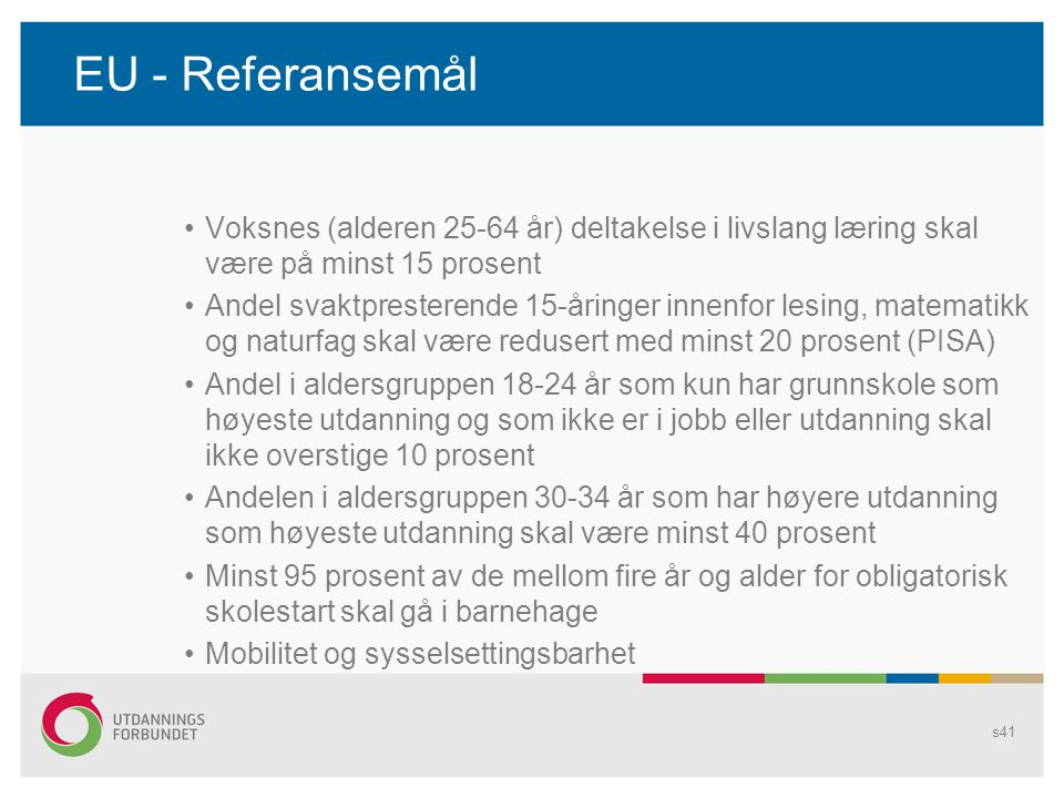 EU - Referansemål Voksnes (alderen 25-64 år) deltakelse i livslang læring skal være på minst 15 prosent.