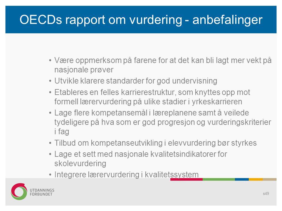 OECDs rapport om vurdering - anbefalinger