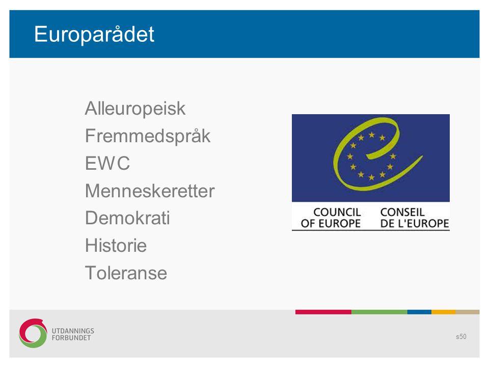 Europarådet Alleuropeisk Fremmedspråk EWC Menneskeretter Demokrati Historie Toleranse