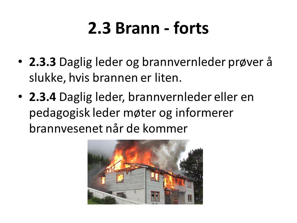 2.3 Brann - forts 2.3.3 Daglig leder og brannvernleder prøver å slukke, hvis brannen er liten.