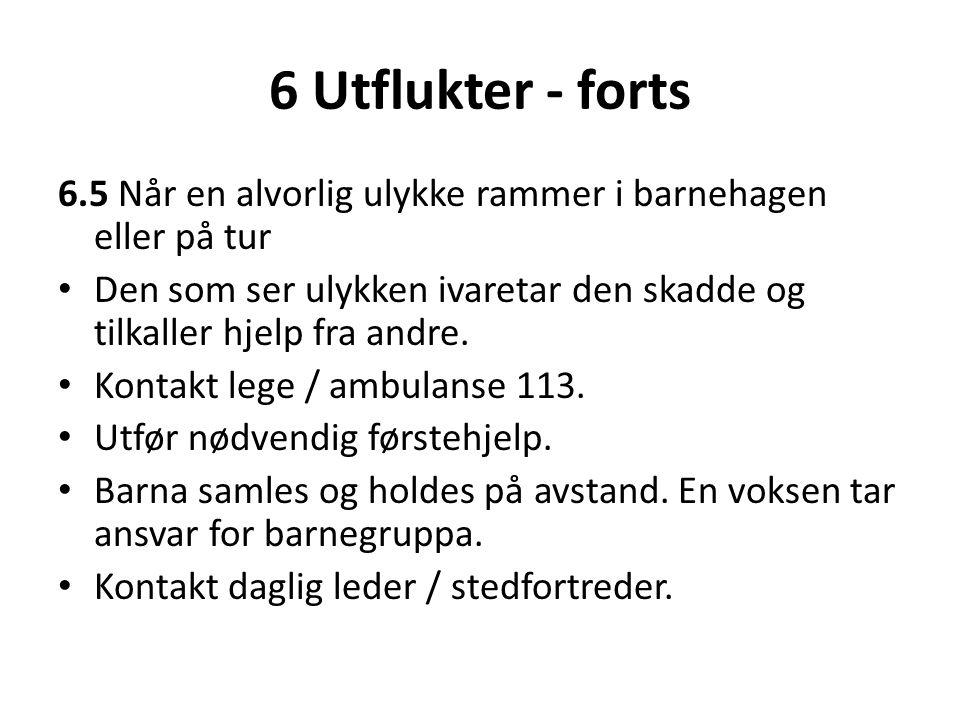 6 Utflukter - forts 6.5 Når en alvorlig ulykke rammer i barnehagen eller på tur.