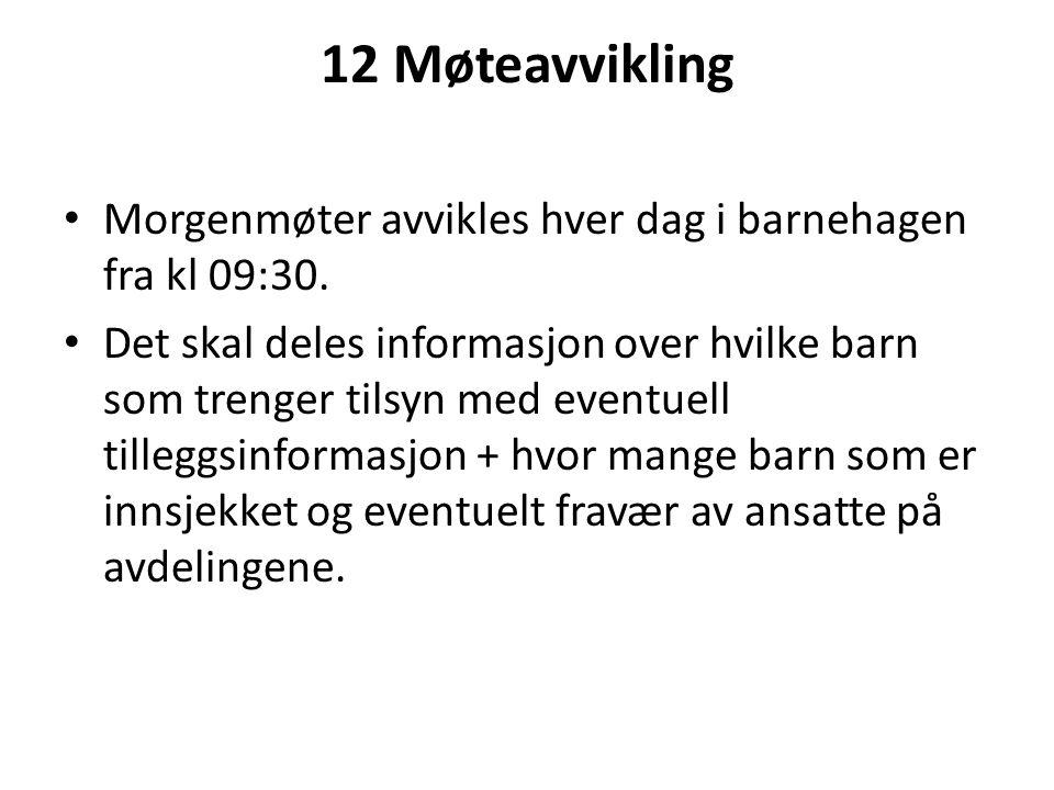 12 Møteavvikling Morgenmøter avvikles hver dag i barnehagen fra kl 09:30.