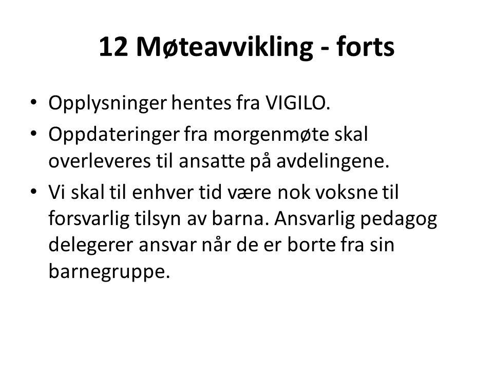 12 Møteavvikling - forts Opplysninger hentes fra VIGILO.