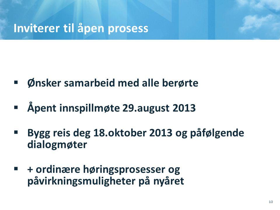 Inviterer til åpen prosess