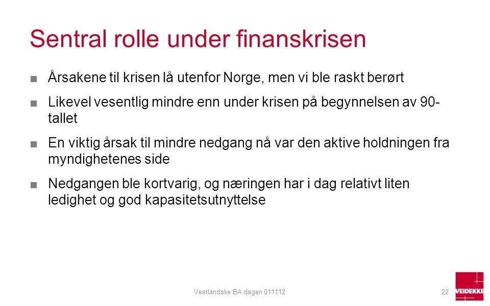 Sentral rolle under finanskrisen